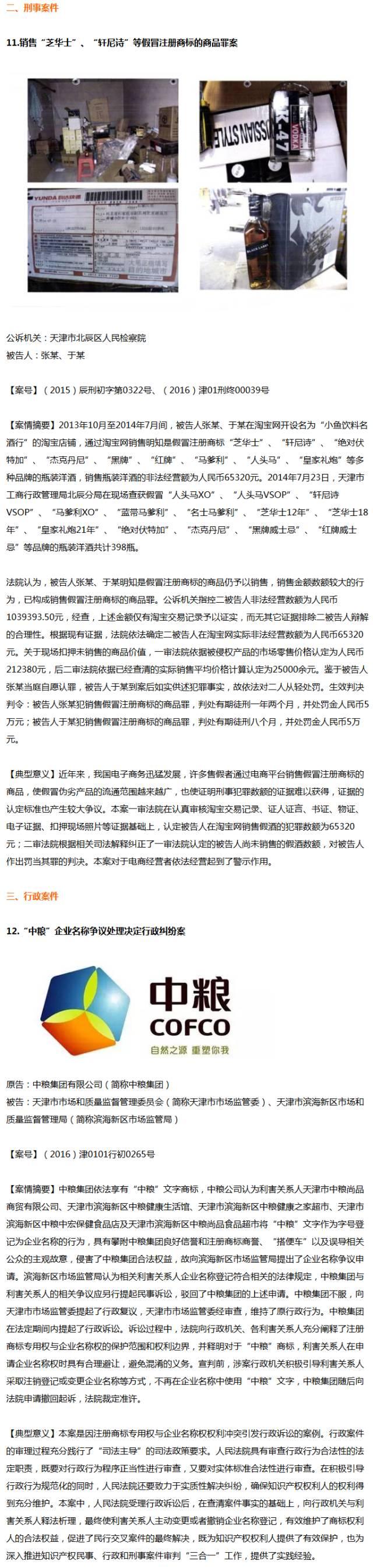 【天津】2016年知识产权十二大典型案件