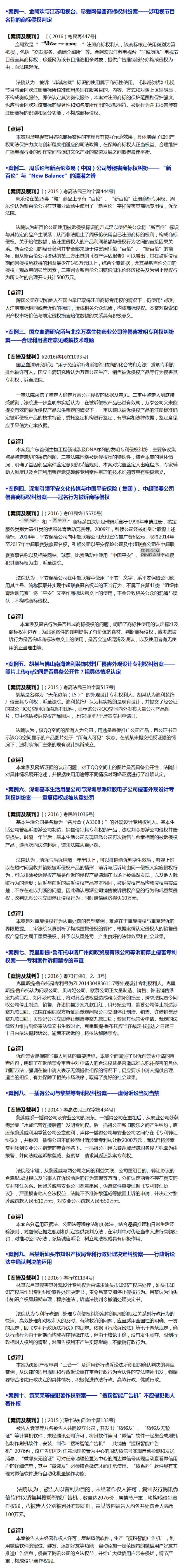 【广东】2016年度知识产权审判十大案例
