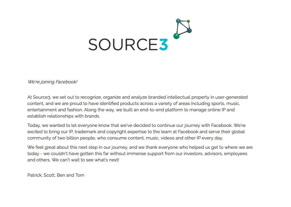 加大力度打击侵权问题?Facebook收购产权保护企业Source3