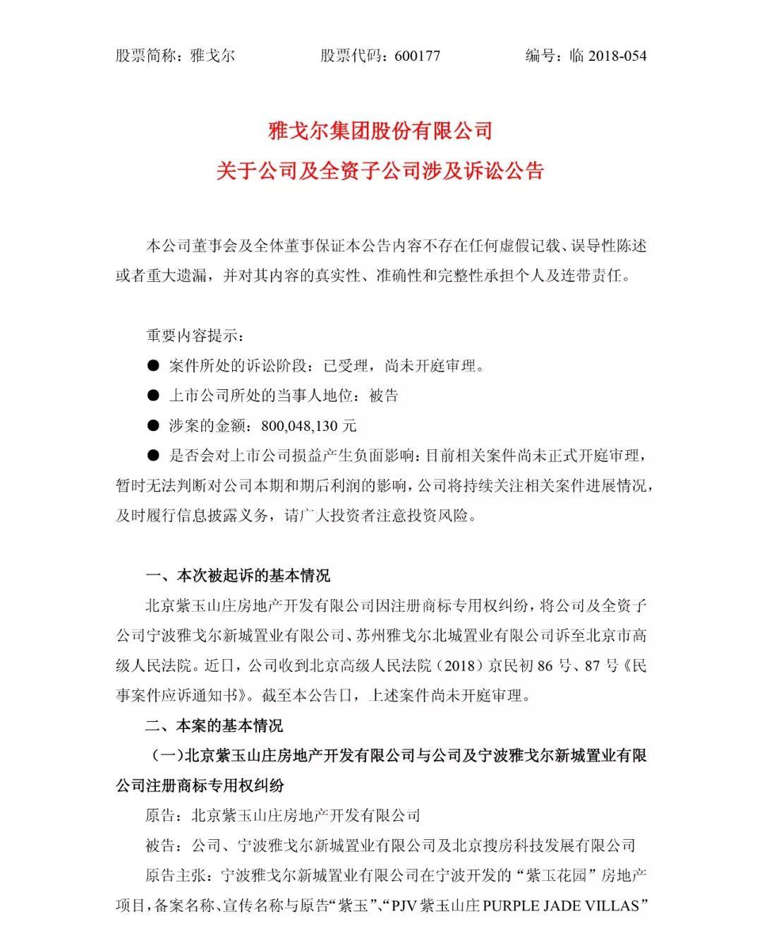 总涉案金额800,048,130 元!北京紫玉山庄诉雅戈尔集团商标侵权案