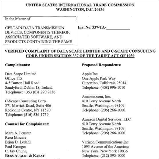 苹果和亚马逊因疑似侵犯云端同步功能专利而被提起美国337调查