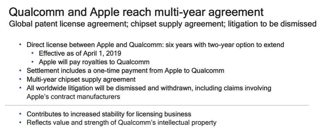 高通苹果和解!双方撤销所有诉讼达成六年直接授权协议