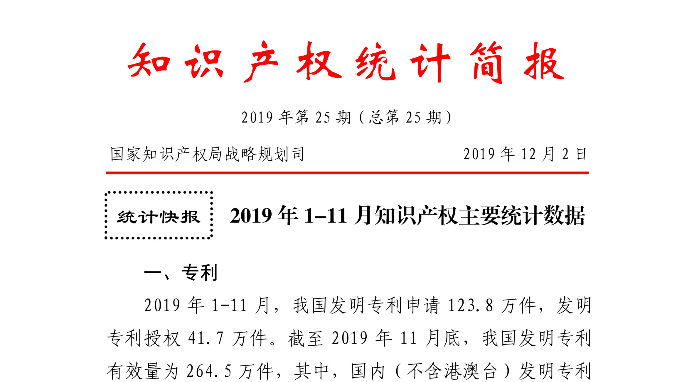 国知局发布2019年1-11月「专利、商标、地理标志」统计数据