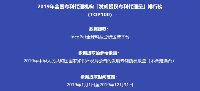 2019年全国专利代理机构「发明授权专利代理量」排行榜(TOP100)