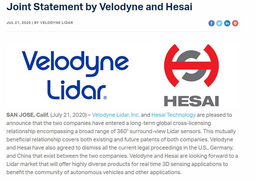 禾赛科技与velodyne达成全球专利交叉许可
