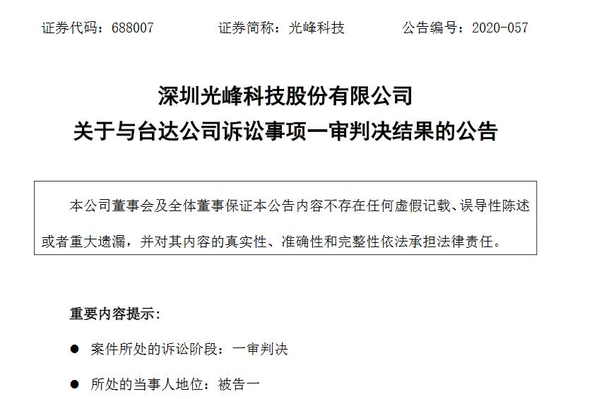 光峰科技被判不侵权!驳回台达公司的全部诉讼请求