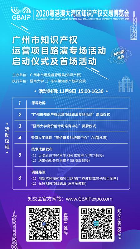 知交会预热期活动|广州市知识产权运营项目路演专场活动启动仪式及首场活动