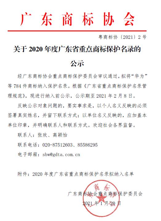 重磅!2020年度广东省重点商标保护名录公示