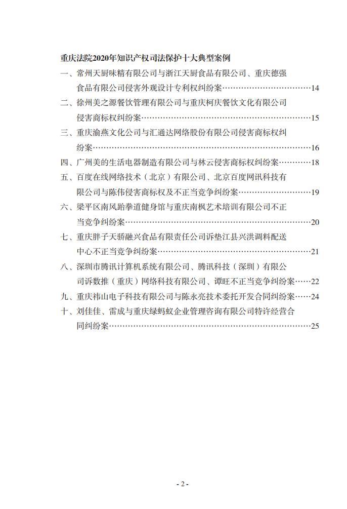 2020年川渝地区人民法院知识产权司法保护典型案例