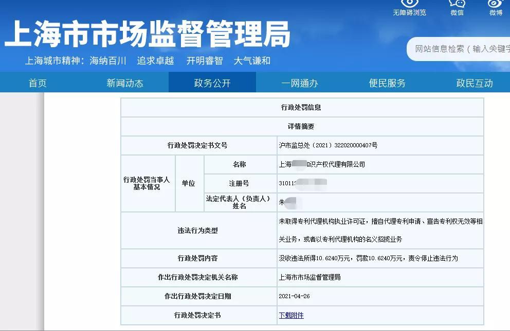 因擅自代理专利申请172件,这家代理机构被罚款10万6!