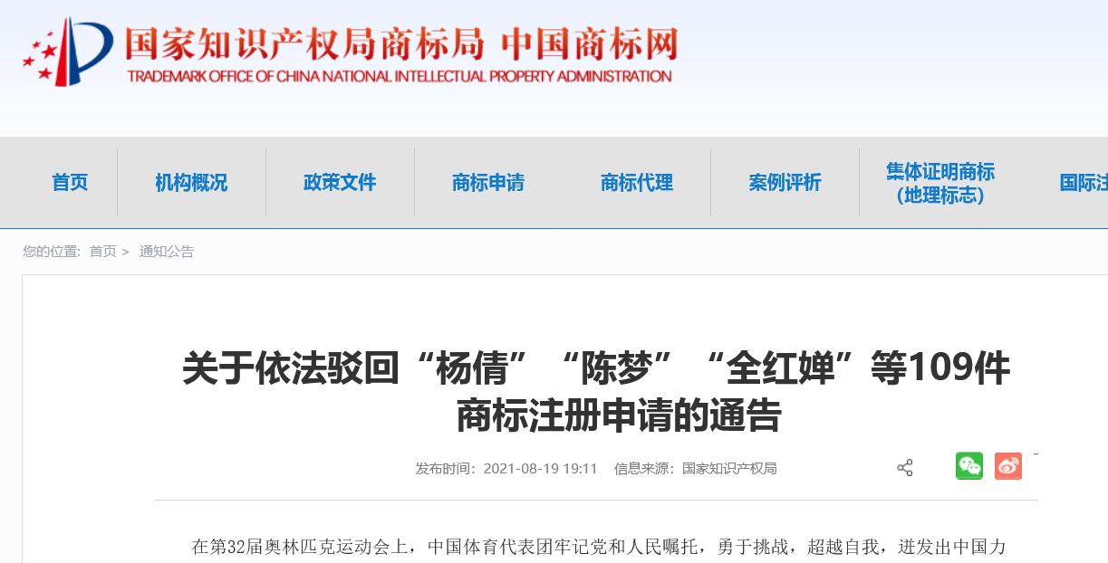 """国知局:依法驳回""""杨倩""""""""陈梦""""""""全红婵""""等109件商标注册申请(附驳回名单)"""