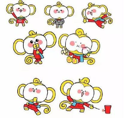 整体感觉很中国风,红黄绿的搭配也显得十分热烈,小猴子的形象挺可爱的