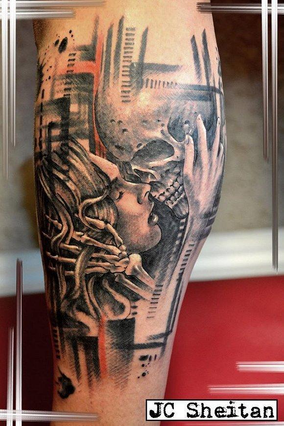 """"""" 视频: 碉堡的断臂纹身师 jc sheitan tenet 整个右前臂就是一台超大"""